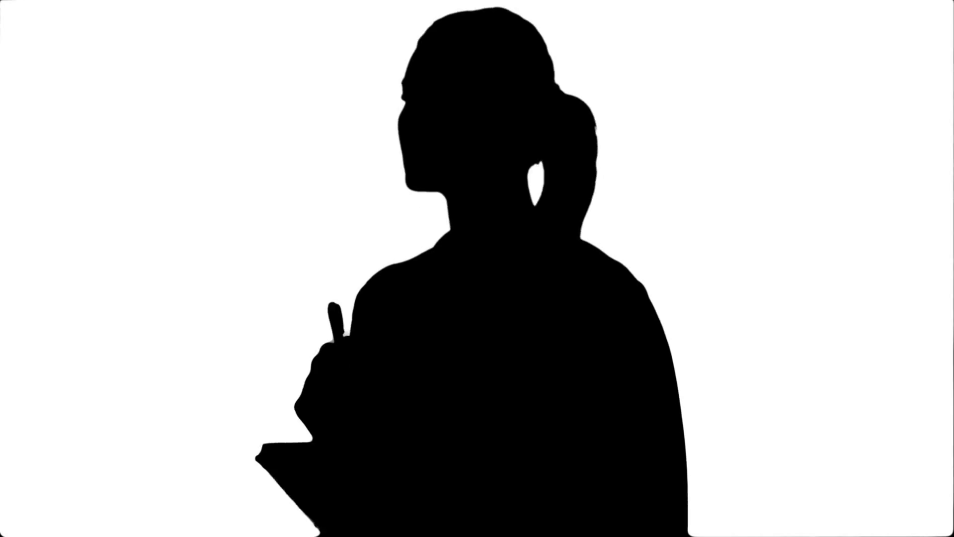 1920x1080 Silhouette Young Business Woman Inventing Ideas, Writing The, Down