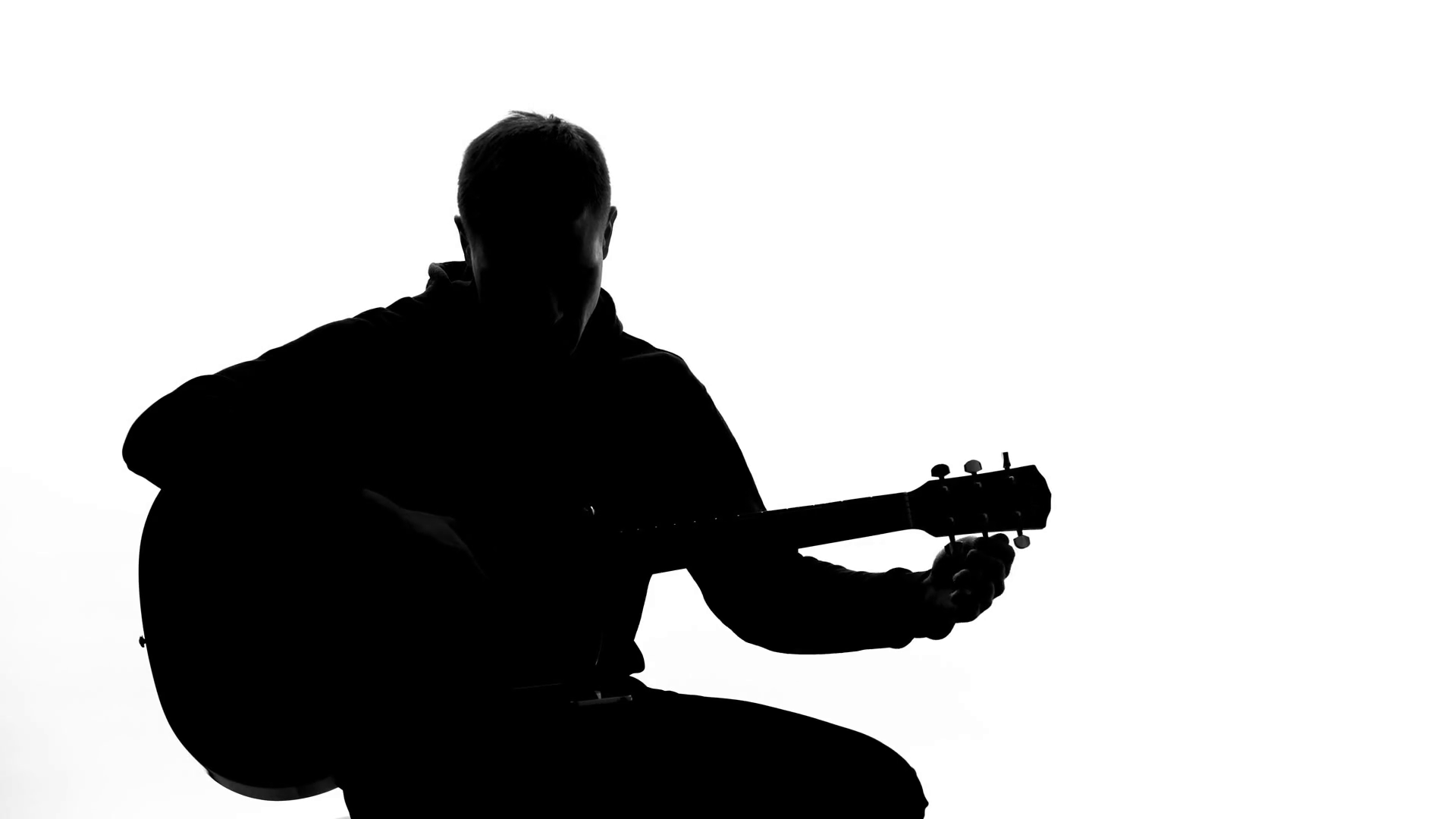 1920x1080 Young Man Silhouette Tuning Up Guitar, Professional Writing Song