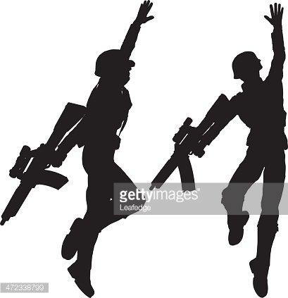409x423 Silhouette Soldier[Jump!] Premium Clipart
