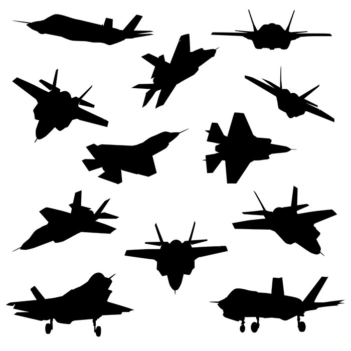 700x700 Fighter Aircraft Silhouettes Wall Mural We Live To Change