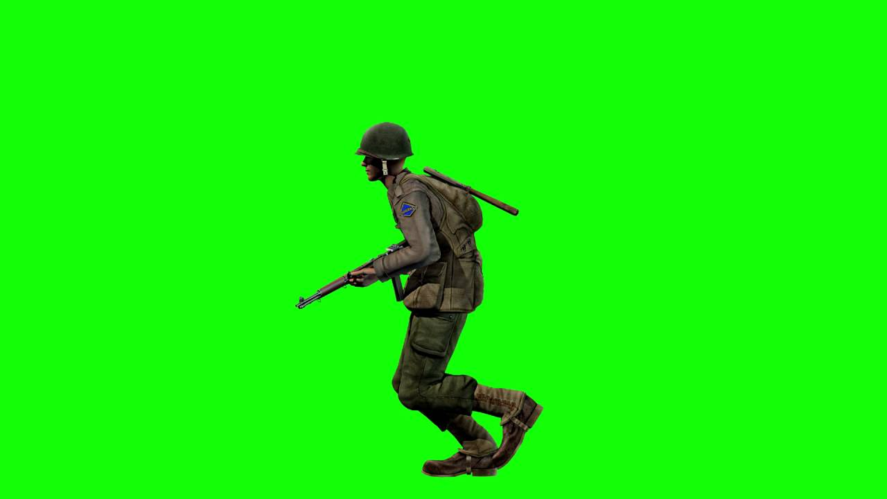 1280x720 Free Game Assets Wwii Private Soldier Running On Green Screen
