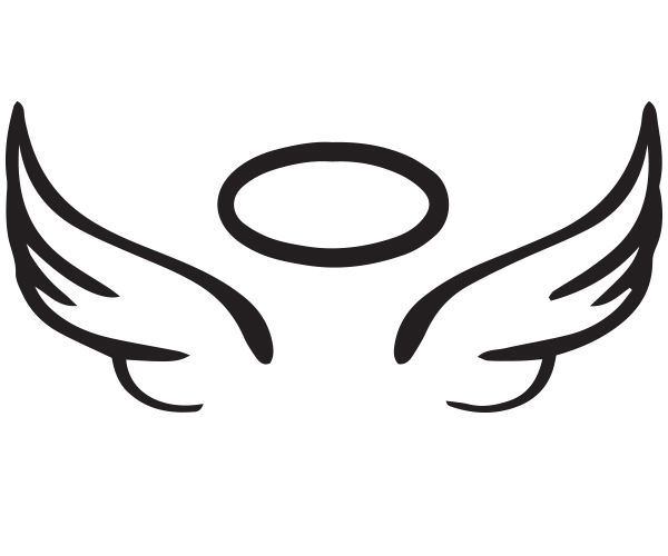 600x500 Angel Wing Halo Vinyl Car Decal Diy Project Rip Glass 5 X 2.25