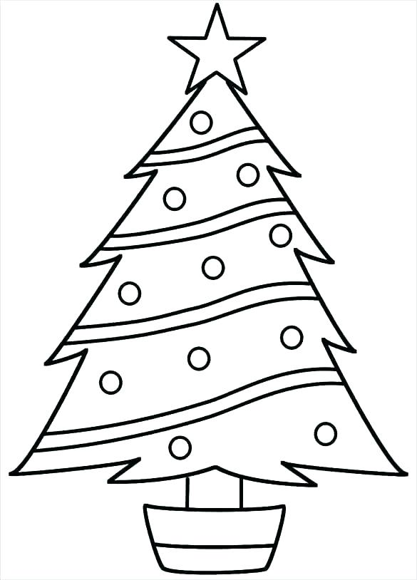 585x814 Xmas Tree Silhouette Vector Kids Coloring Tree Coloring Page Blank