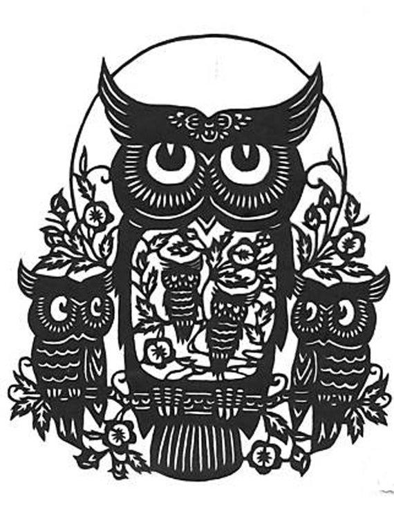 570x738 Five Owl Silhouette Handmade Pdf Cross Stitch Pattern
