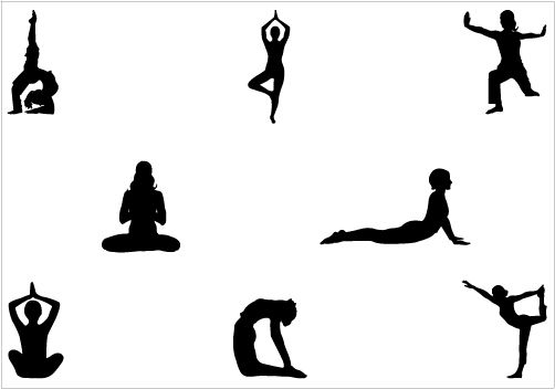 502x352 Yoga Silhouette Yoga Pose Of Standing Amp Sittingsilhouette Clip Art