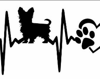 340x270 Yorkie Heartbeat Heart, Yorkie Decal, Yorkie Sticker, Paw,car