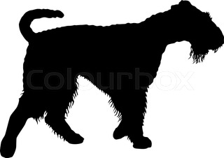 320x226 Yorkshire Terrier Dog Silhouette On A White Background. Stock