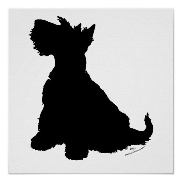 630x630 Scottish Terrier Silhouette Poster Zazzle.co.uk