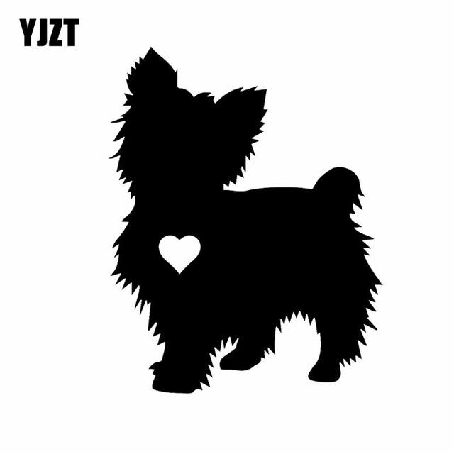 640x640 Yjzt 10cm12.6cm Yorkshire Terrier Heart Silhouette Car Decal