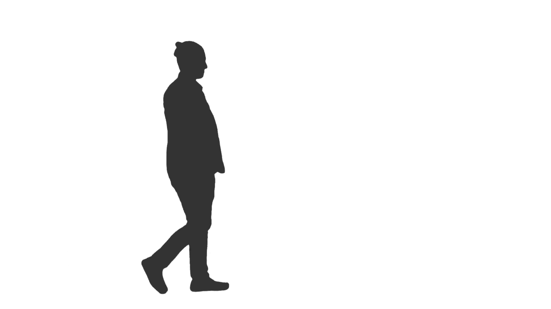 1920x1080 Silhouette Of A Young Man Walking With Hands In Pockets. Side View
