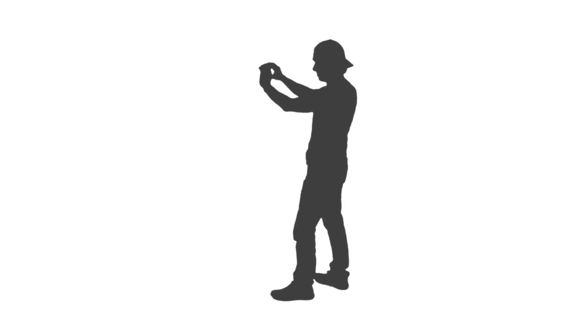 1920x1080 Silhouette Of Walking Young Man With A Smartphone, He Makes