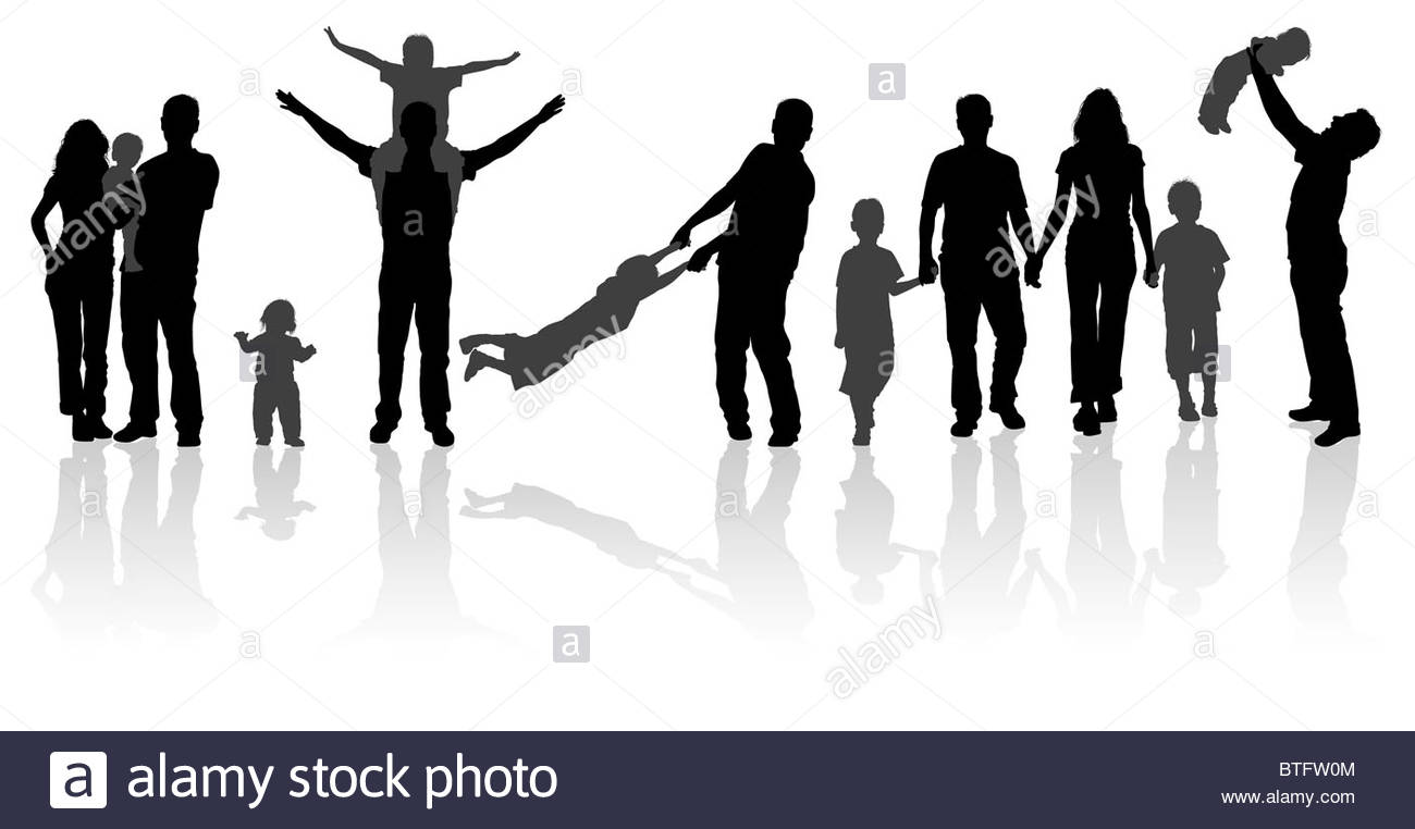 1300x762 Silhouette Happy Family On Walk In Action, Vector Illustration