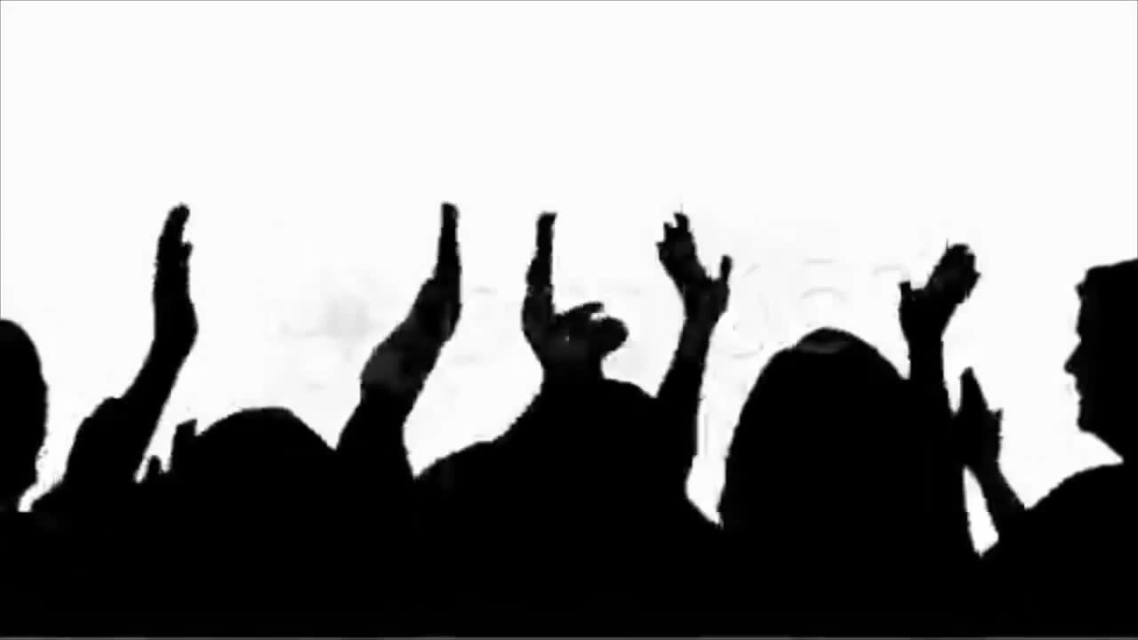 1280x720 Silhouette Of Crowd Clapping And Cheering. Stock Footage