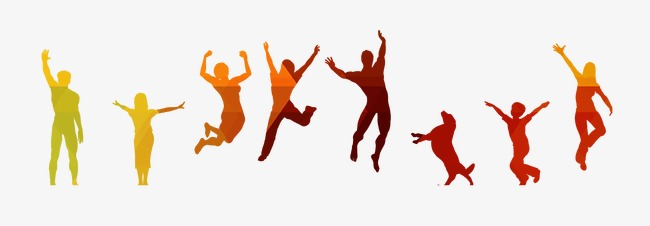 650x226 Color Jumping People Silhouette, Painted Crowd, Youth, Dream Png
