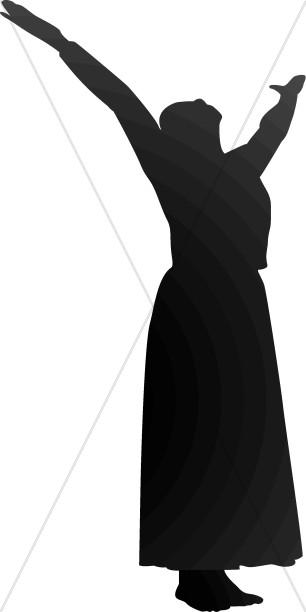 306x612 Dressed Woman In Praise Praise Clipart