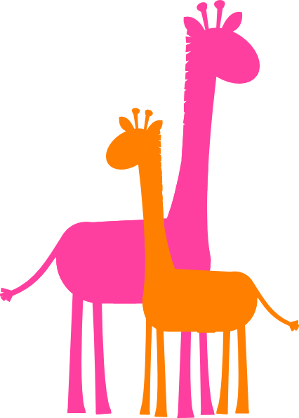 426x594 Giraffe Caricature Mother And Baby Giraffe Sillouette Clip Art