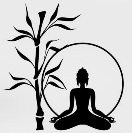 452x458 Buddha Wall Sticker Buddha Tree Bamboo Relaxation Zen Meditation