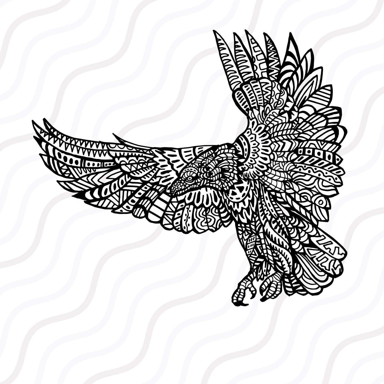 1500x1500 Ethnic Eagle Svg, Zentangle Eagle Svg, Eagle Svg Cut Table Design