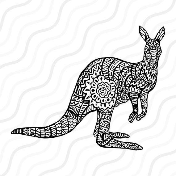 570x570 Ethnic Kangaroo Svg, Zentangle Kangaroo Svg, Kangaroo Svg Cut