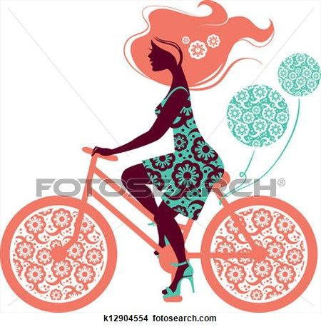 450x458 Silhouette Of Beautiful Girl On Bicycle View Large Illustration