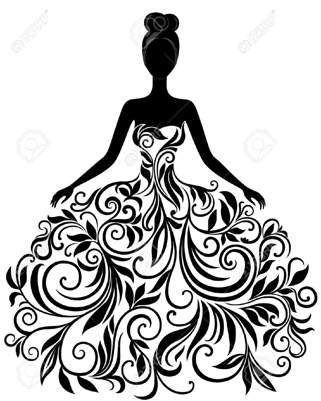 1039x1300 17072764 Vector Silhouette Of Young Woman In Elegant Wedding Dress