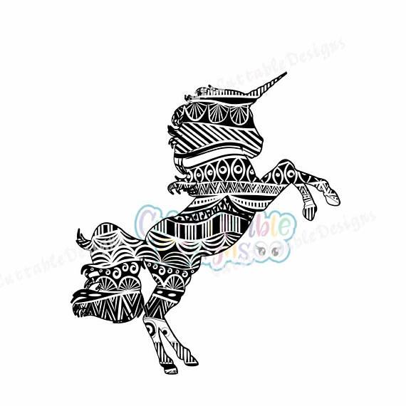 570x570 Zentangle Unicorn Svg, Eps, Dxf, Studio, Printable Png, Boho