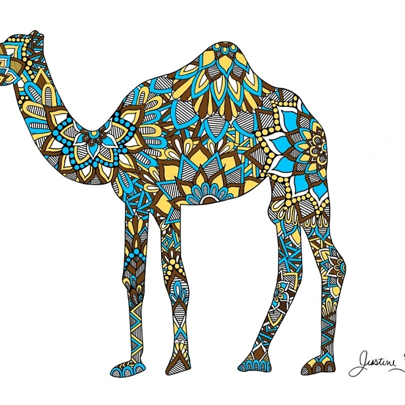 800x800 Camel Zentangle Silhouette Laptop Sleeves By Justinefisher