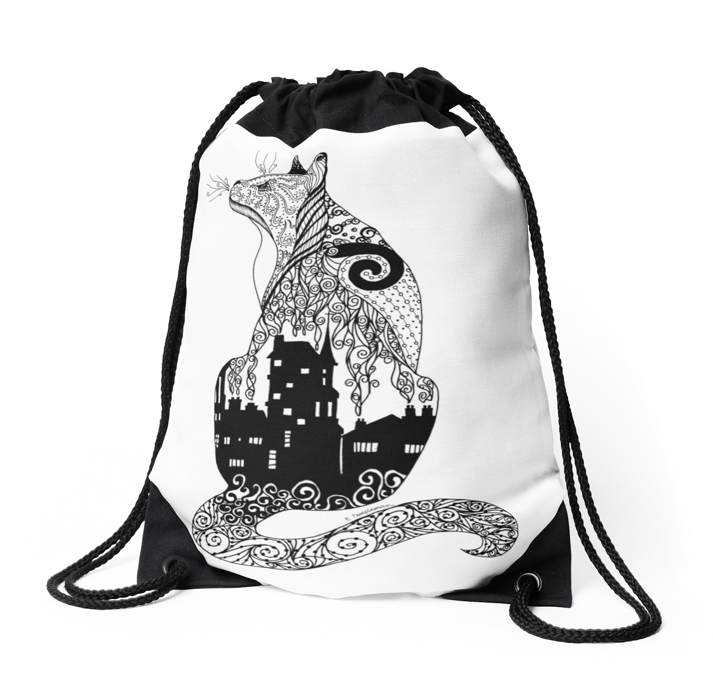 1435x1404 City Kitty Zentangle Silhouette Drawstring Bags By Templemanart