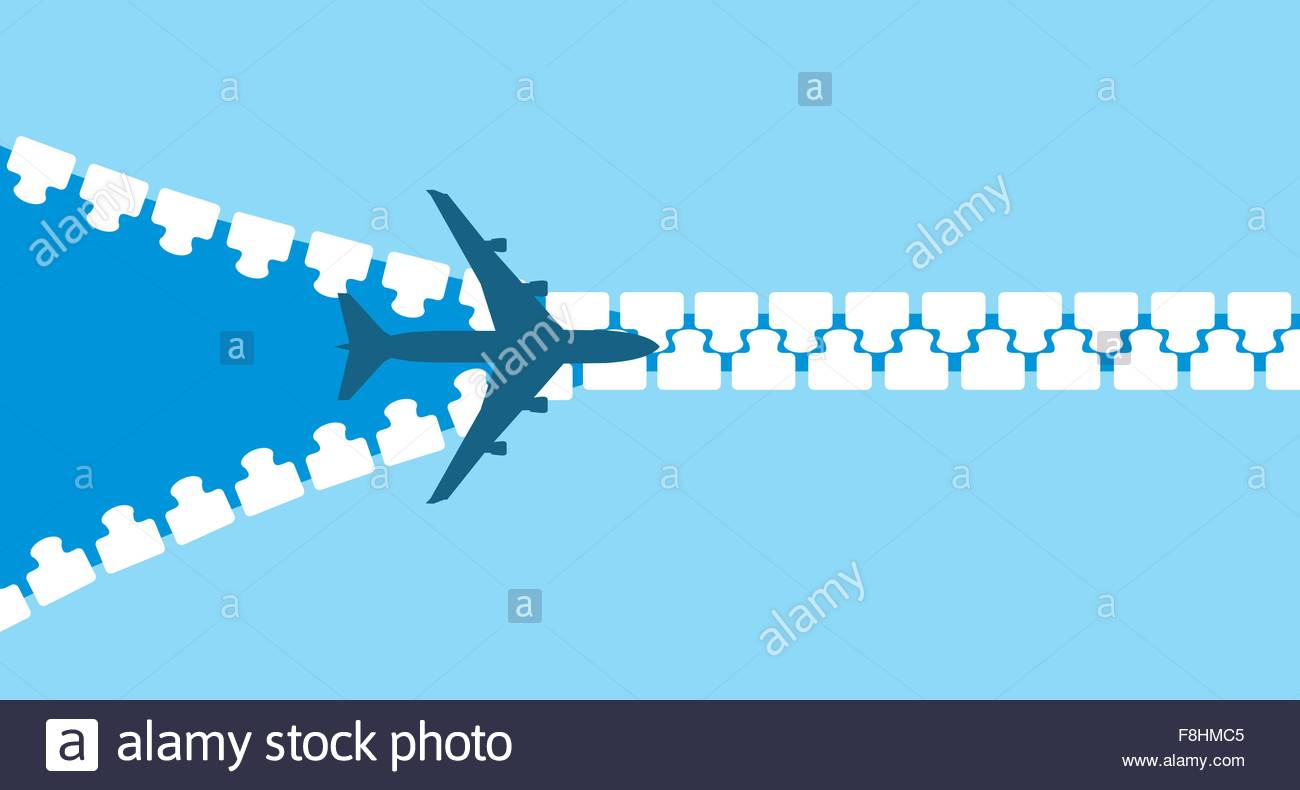 1300x790 Vector Image Of White Silhouette Of Jet Airplane Opening Zip Stock