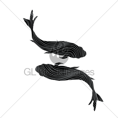 500x500 Pisces Zodiac Sign On White Background. Fish Swimming Sil Gl