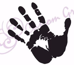 300x263 Hand Print Funny Vinyl Sticker, Car, Window, Wall, 11 Colours