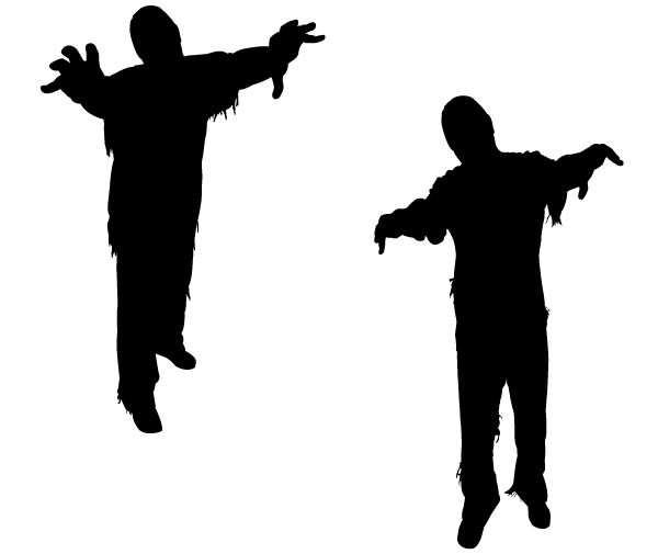 600x505 Vector Zombie Silhouettes, Free Vectors