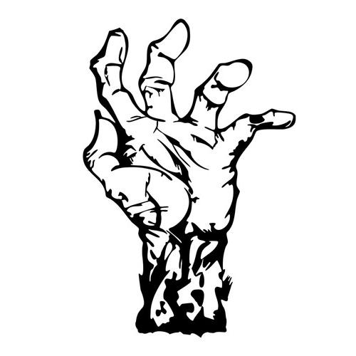 500x500 Zombie Hand Die Cut Vinyl Decal Pv542 Cricut, Silhouettes