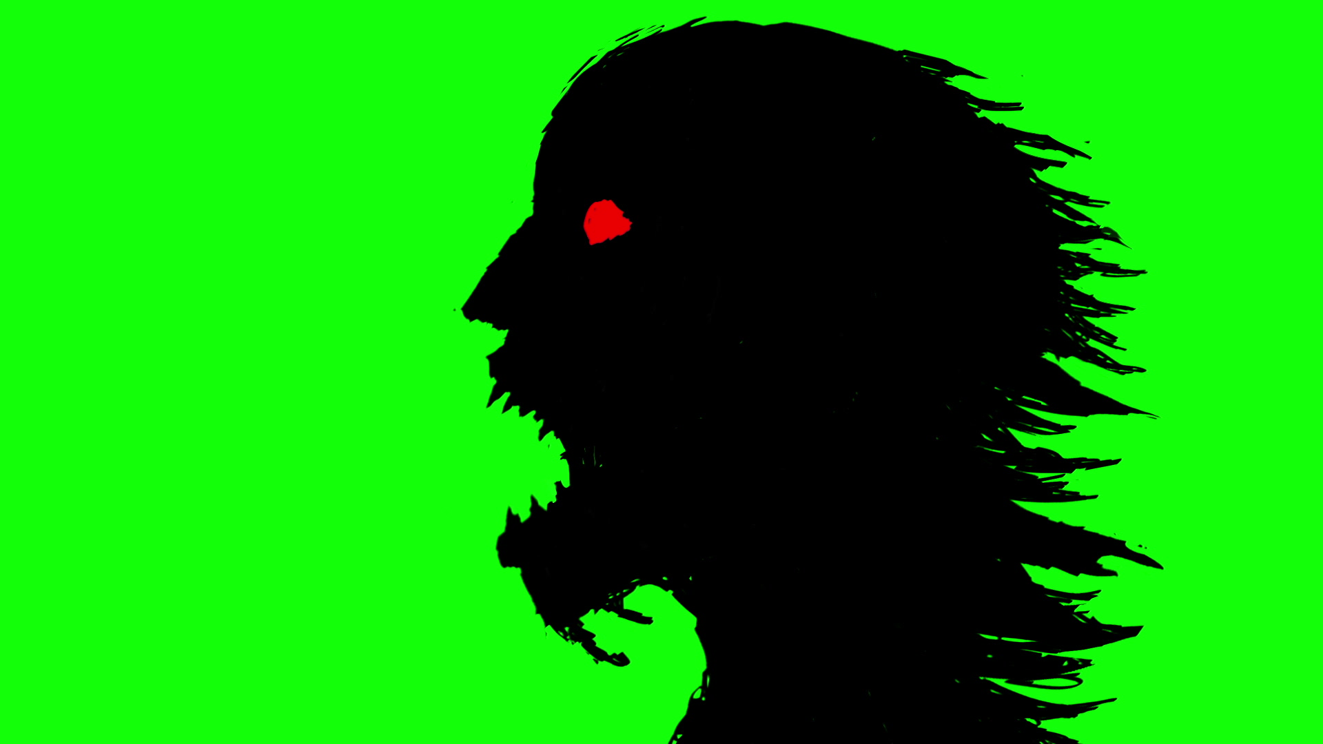 1920x1080 Video Silhouette Of A Head Of A Running Zombie Woman Clapping