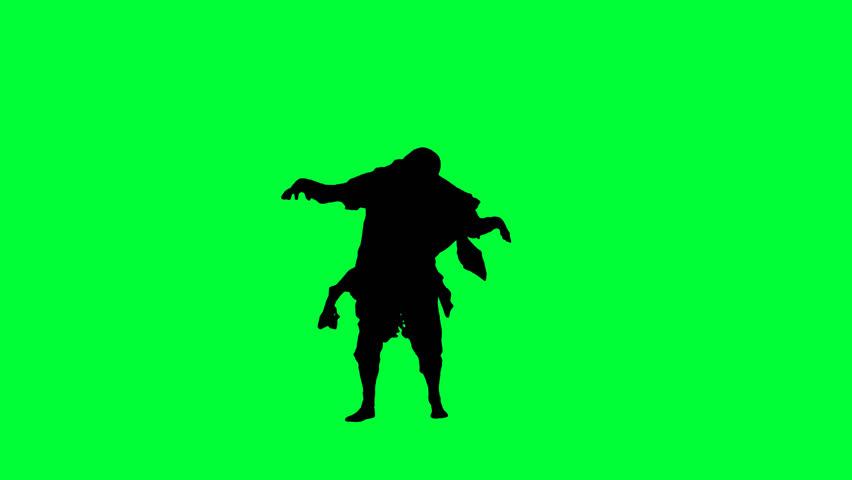 852x480 Invasion Zombies Horde Runs Back Green Screen 3d Rendering