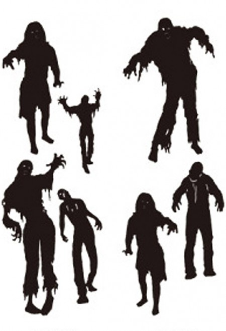 450x657 Black Stick On Zombie Wall Art Zombie Halloween Wall Decorations