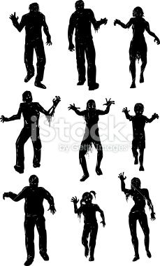 229x380 Scary Zombie Hands Silhouettes Set. Royalty Free Stock Image