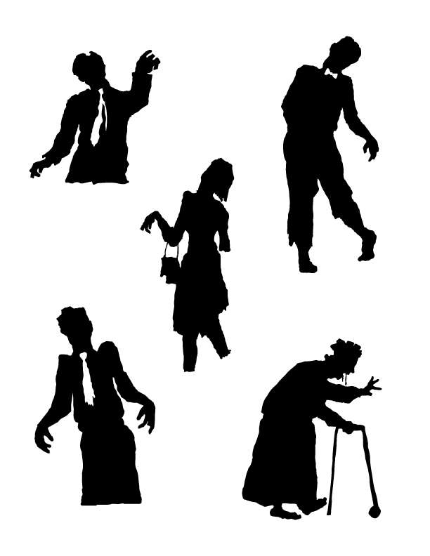 612x792 Pic Zombie Couple Black And White Shillots Zombies Silhouettes I