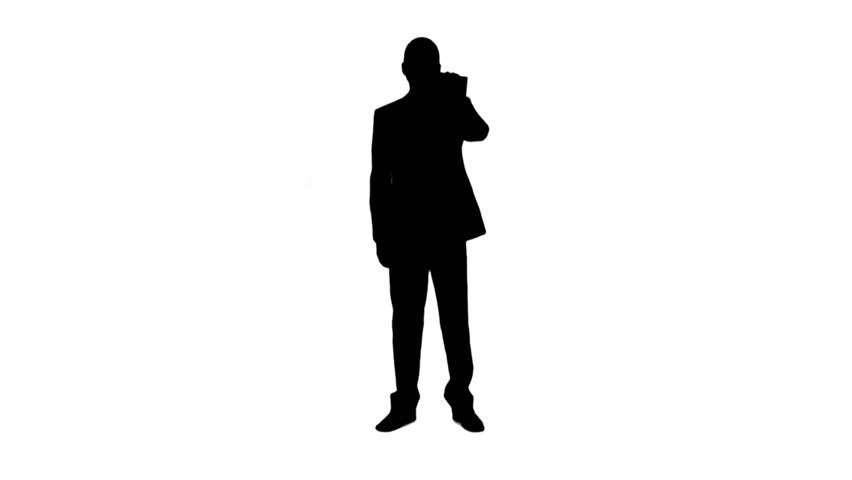 852x480 Silhouette Young Man In Suit Talking On The Phone And Actively