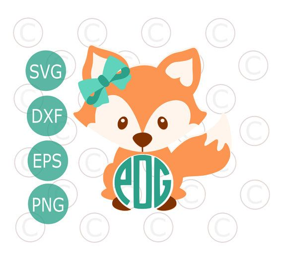 570x532 Circle Monogram Baby Fox Svg Amp Dxf Cutting Files, Cute Fox Png
