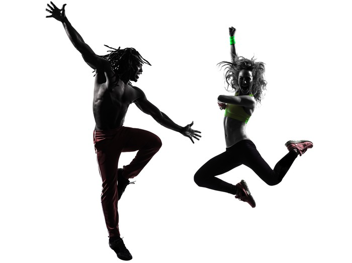 700x523 Couple Man And Woman Exercising Fitness Zumba Dancing Silhouette