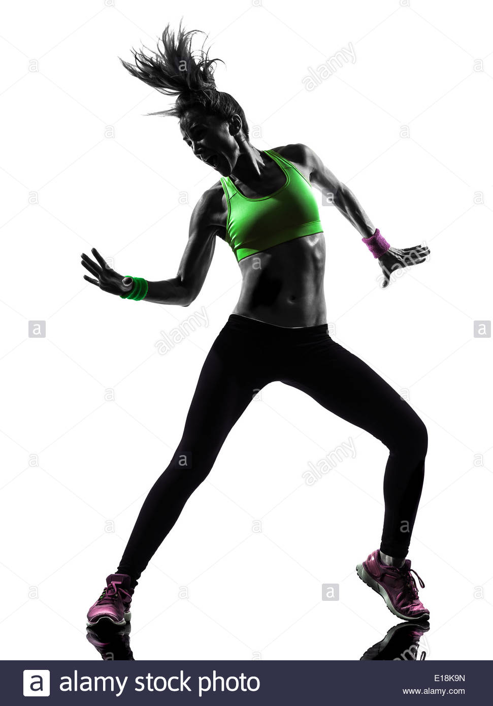 971x1390 One Woman Exercising Fitness Zumba Dancing In Silhouette On White