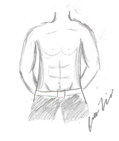 6 Pack Abs Drawing