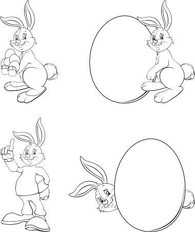 380x452 Clipart de dessin de lapin de Pâques Abs pour les feuilles de calcul