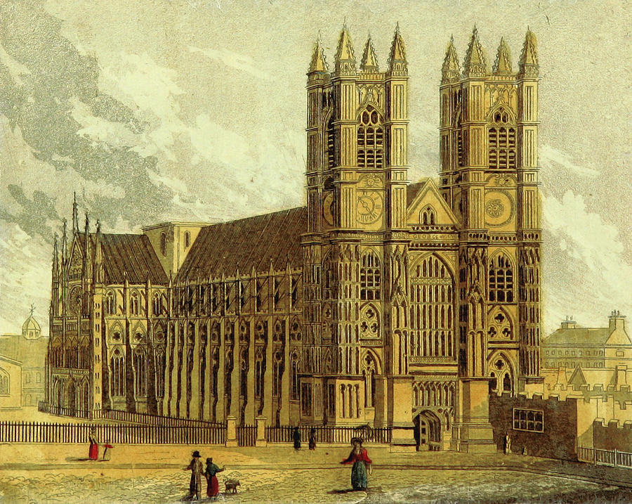 900x717 Westminster Abbey, Uk, 19th Century Drawing By Litz Collection