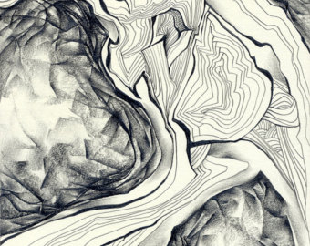 340x270 Abstract Pencil Drawing Original Figurine Drawing