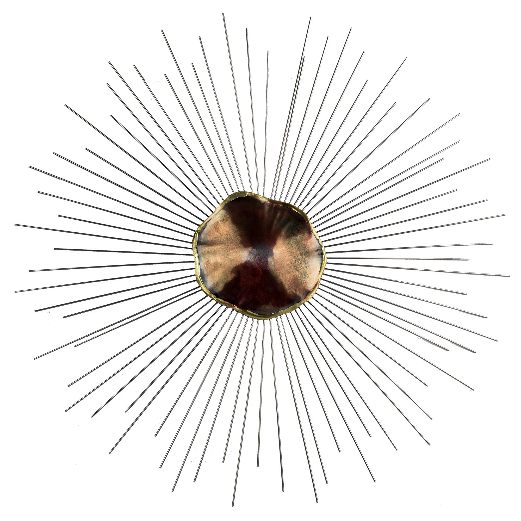 2000x2000 Silver And Red Abstract Metal Sunburst Wall Decor