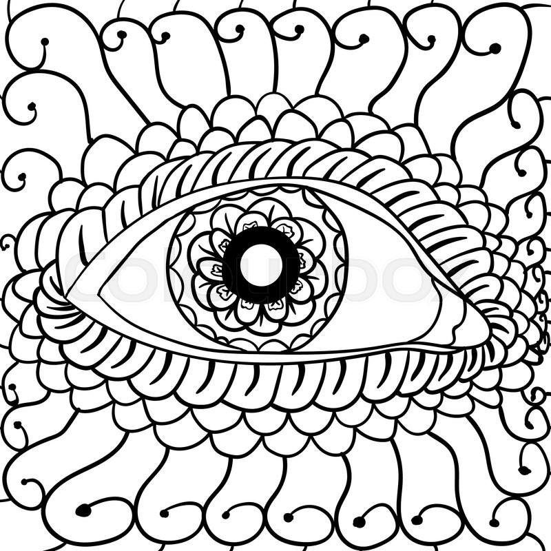 800x800 Vector Illustration, Abstract Eyes Artwork, Card Concept Stock