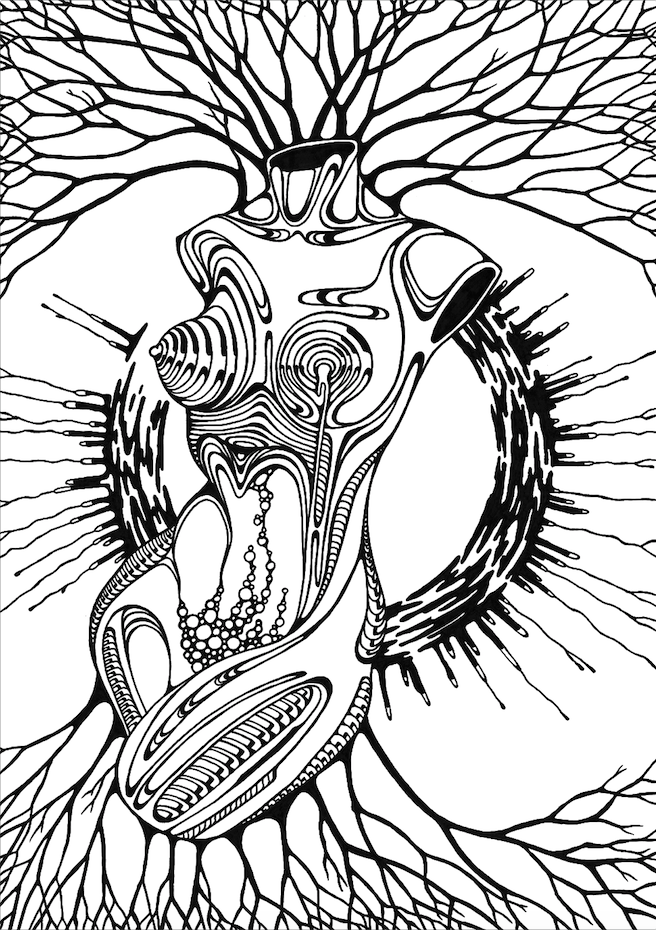 656x930 Biomechanic Sci Fi Surreal Abstract Ink Drawing Black White Female