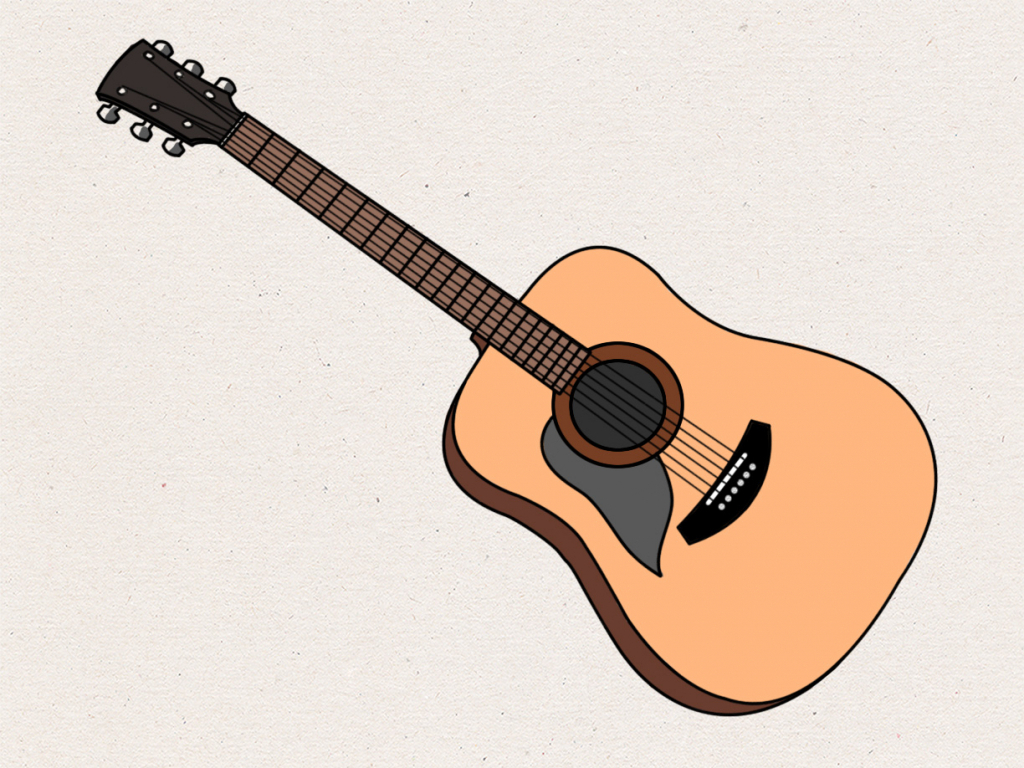1024x768 Drawing Of A Guitar Drawing Of A Guitar Acoustic Guitar Drawing